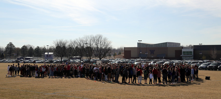 Students at Arvada West High School gathered in an on-campus field March 14 during the National School Walkout. In memory of the students who died at Marjory Stoneman Douglas High School in Florida, students stood in the shape of a heart.