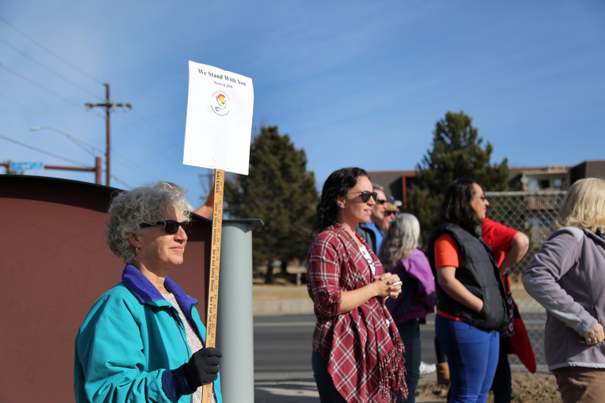 "Amanda Trosten-Bloom stood in support of students at Arvada West High School March 14. ""My hope is that kids doing this across the country will get the attention of the lawmakers,"" she said."""