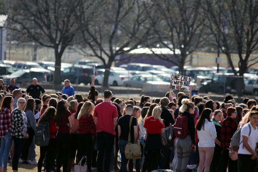 The walkout at Arvada West High School was one of almost 2,000 planned across the country.
