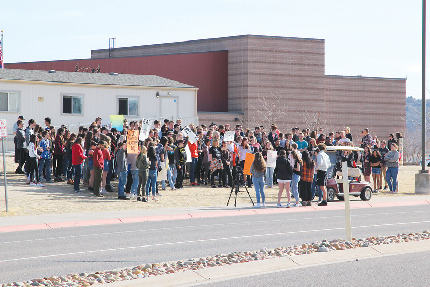 Students at Castle View High School in Castle Rock took part in school walkouts happening across the nation March 14 protesting gun violence in schools.