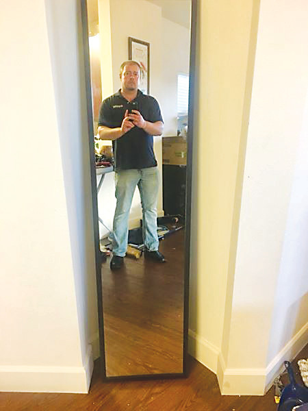 Dan Pesch, who has been charged with first-degree murder in the death of Randy Wilson, in a photo from a December Facebook post. Pesch sold many of his belongings online in the weeks before his arrest, including this mirror.