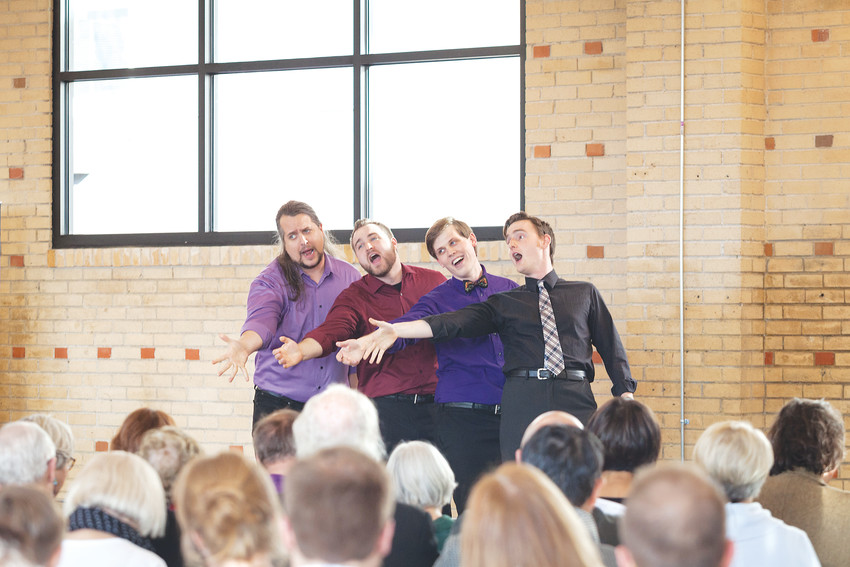 From left, bass-baritone Andrew Hiers, baritones Heath Martin and Nicholas Kreider, and tenor Nathan Ward perform during the Opera Colorado Young Artists' annual An Afternoon of American Song on March 4 at the Opera Colorado Opera Center in Englewood.