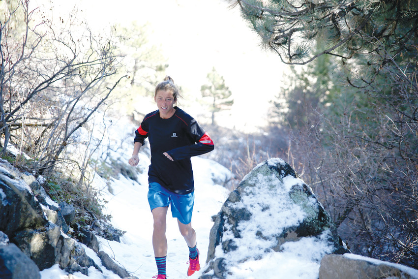 Courtney Dauwalter naviagtes through a snow-packed section of trail at Apex Park in Golden on Feb. 14, 2018. Dauwalter will compete in the Western States 100-mile endurance run this June.