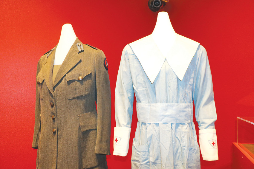 American Red Cross Nursing Uniforms from 1917 to 1919, which are on display as part of the World War I exhibit at the Center for Colorado Women's History.