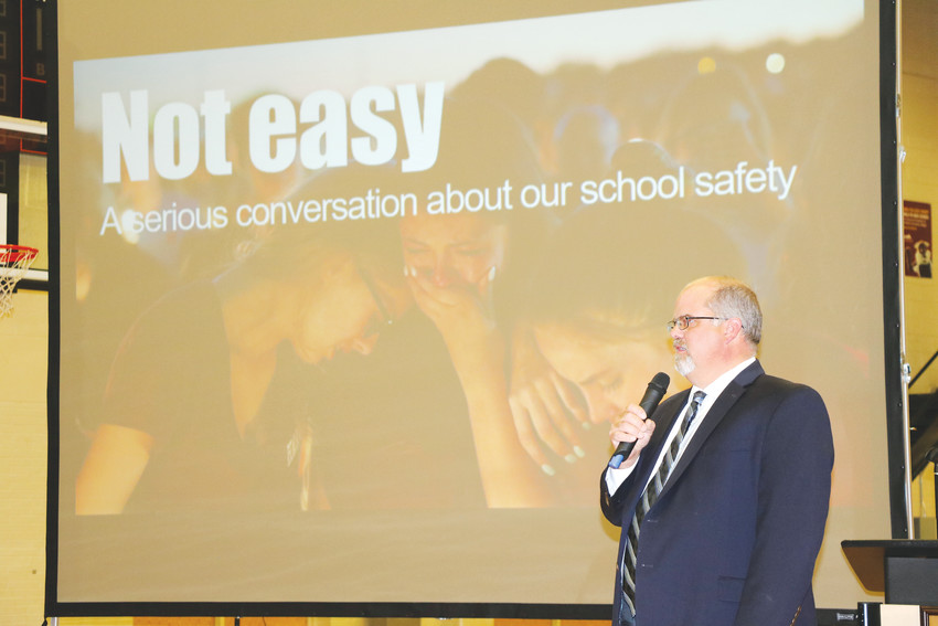 John McDonald, executive director of security and emergency management with Jeffco Schools, leads the discussion during the Jeffco Safety Forum at Lakewood High School on March 20.