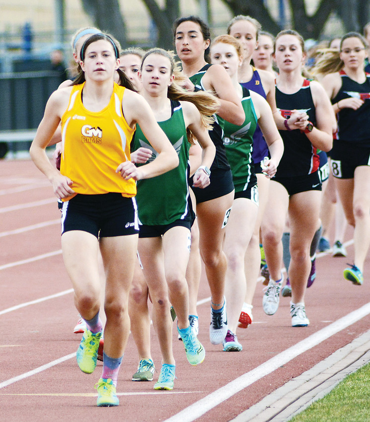 Green Mountain sophomore Kasey Klocek leads the pack of runners during the girls 1,600-meter run March 22 at Jeffco Stadium during a state qualifying meet. Klocek cruised to victory with a time of 5 minutes, 23.6 seconds.