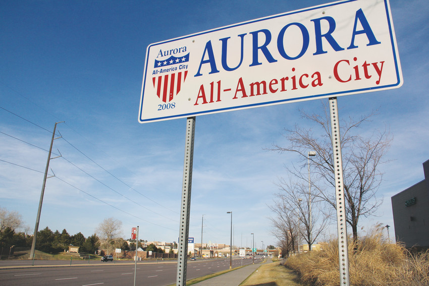 A sign marking a boundary of Aurora near Arapahoe and Parker roads, April 1. In an area mostly surrounded by Centennial, a pot dispensary is scheduled to open soon on nearby Aurora property, a development that has concerned Centennial city councilmembers and residents. Centennial prohibits marijuana-related businesses and facilities.