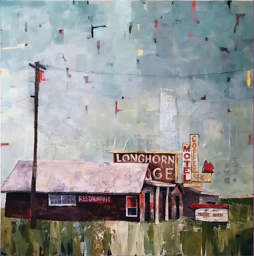 """Roadside Attraction"" by J.M. Collins, 36""x36"" is included in the ""Divergent Divas"" exhibit at Town Hall Arts Center."