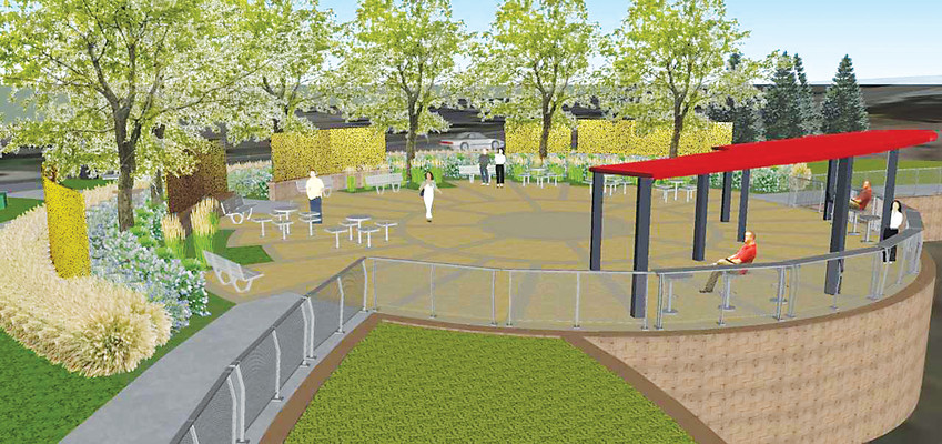 A rendering of the Entertainment District Park, located at the southwest corner of Kimmer Drive and Park Meadows Drive, shows a vision of the park that will be completed early this summer.
