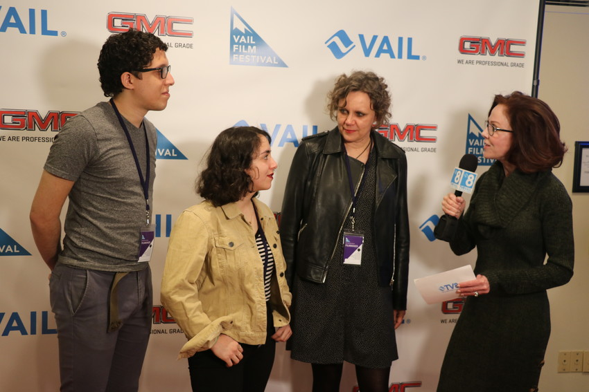 "The team behind the short film, ""The Invaders,"" are interviewed by TV8 Vail. From left, production assistant, Will Veguilla. lead actor Isra Elsalihie, and producer Claudia Murdoch."