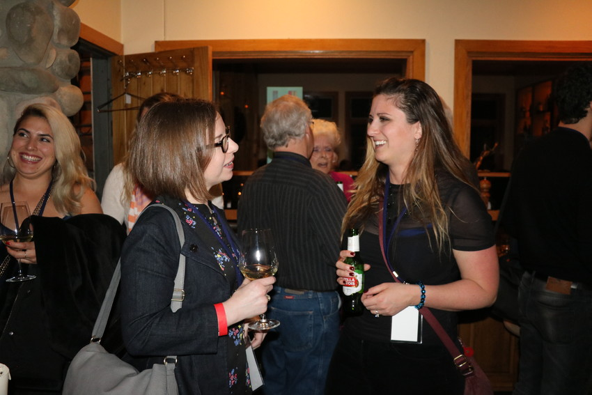 "Claire Berman, left, and Megan Reznick, right, director, writer and producers of the documentary ""Faces of PHACS"" at the opening night party at La Tour."