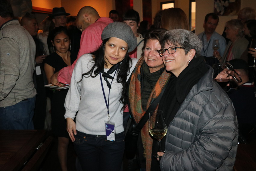 "Director Luz Zamora, left, whose documentary ""De Colores,"" is showing at the Vail Film Festival, visits with Robin Kampf, director of ""Love Wins,"" right, at La Tour."