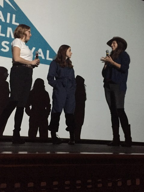 "From left, Molly McGlynn, writer and director of the film ""Mary Goes Around,"" and lead actor Aya Cash speak about their film with program director Jacqueline Jorgeson, after its Colorado premiere on April 6."
