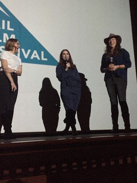 "Aya Cash, center, lead actor in ""Mary Goes Around,"" makes everyone laugh following a screening of the film on April 6. Director and writer Molly McGlynn is on the left, and program director Jacqueline Jorgeson is on the right."