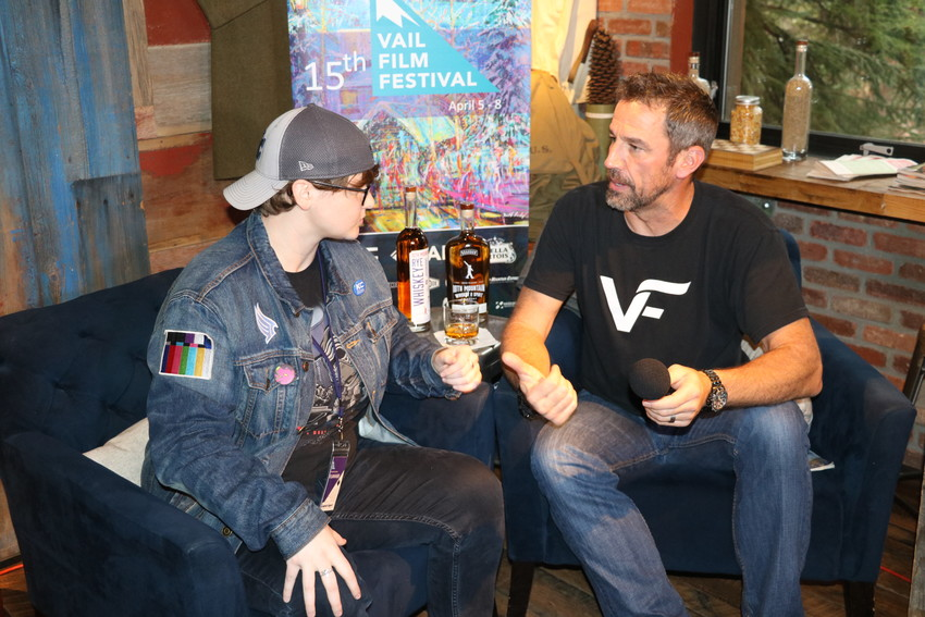 "Savannah Rodgers, director of the short documentary ""Dragtivists,"" speaks to film festival host Bill LeVasseur about the film at 10th Mountain Whiskey."