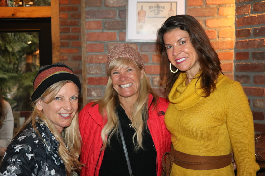 Screenwriter Rashel Mereness, left, and friends tracy Jones and Melissa Maffhey at the filmmaker reception at 10th Mountain Whiskey.