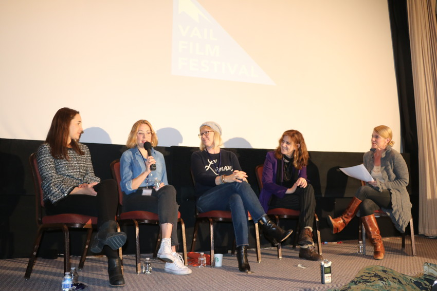 "From left, Colorado Deputy Film Commissioner Mariel Rodriguez-McGill, writer/director Molly McGlynn (""Mary Goes Round""), director/producer Kerry David (""Bill Coors: The Will to Live""), writer/director Stacy Cochran (""Write When You Get Work""), and the Vail Daily newspaper's Tricia Swenson at the ""Getting From Script to Screen"" panel on April 7"