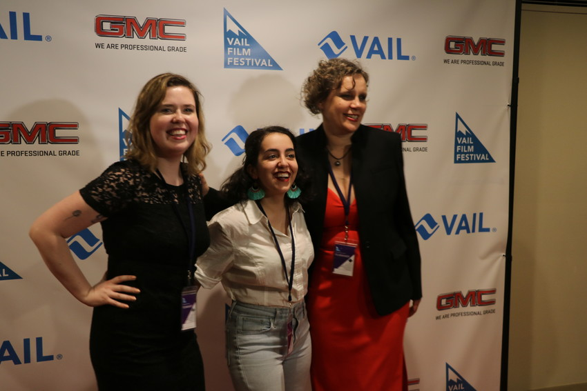 "Members of the team behind the short film, ""The Invaders."" From left, producer Carrie Radigan, lead actor Isra Elsalihie, and producer Claudia Murdoch."