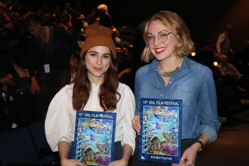 "Actor Aya Cash and writer/director of ""Mary Goes Round"" Molly McGlynn after receiving their awards at the Vail Film Festival."