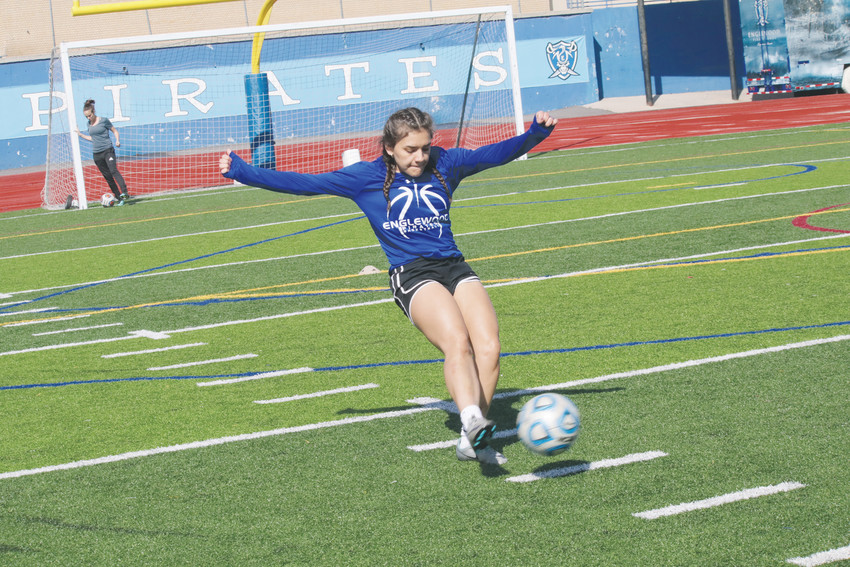 Ashley Munoz drives a shot toward the goal during the Englewood girls soccer team practice as spring break winds up March 30. The Pirates have three non-conference games remaining on the schedule after spring break and start league play April 12.