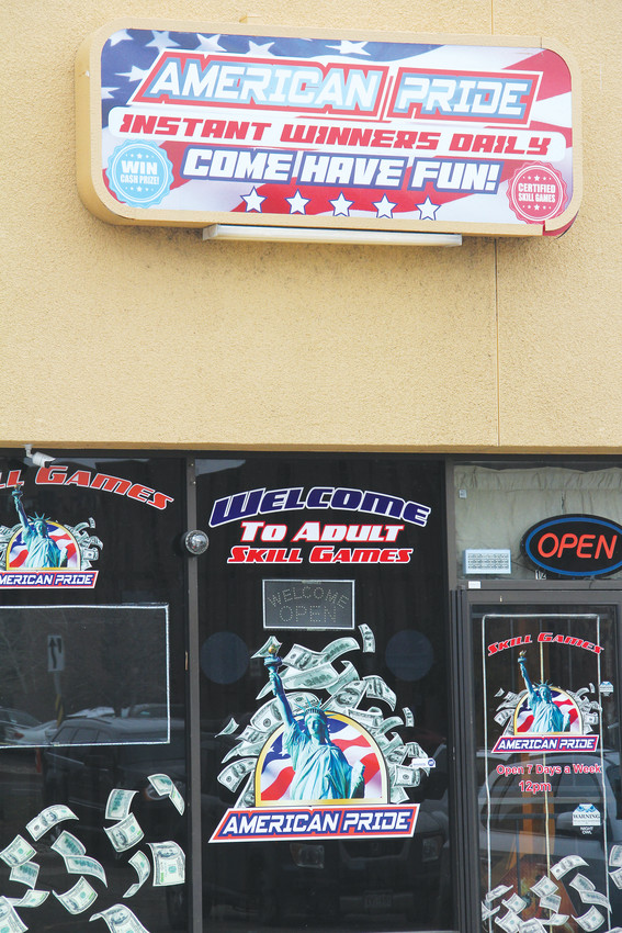The front of American Pride Skill Games at 10890 E. Dartmouth Ave. in Denver, April 6. Its owner, Bagrat Garamov, also tried to open Golden Dragon Arcade Games in Englewood in October, but the City of Englewood said the business needed verification from the state Division of Gaming to confirm it didn't conflict with state gambling law. The City of Denver sent cease-and-desist letters dated March 23 ordering that Garamov must stop operations at American Pride and two other Denver businesses without first obtaining valid licensure.