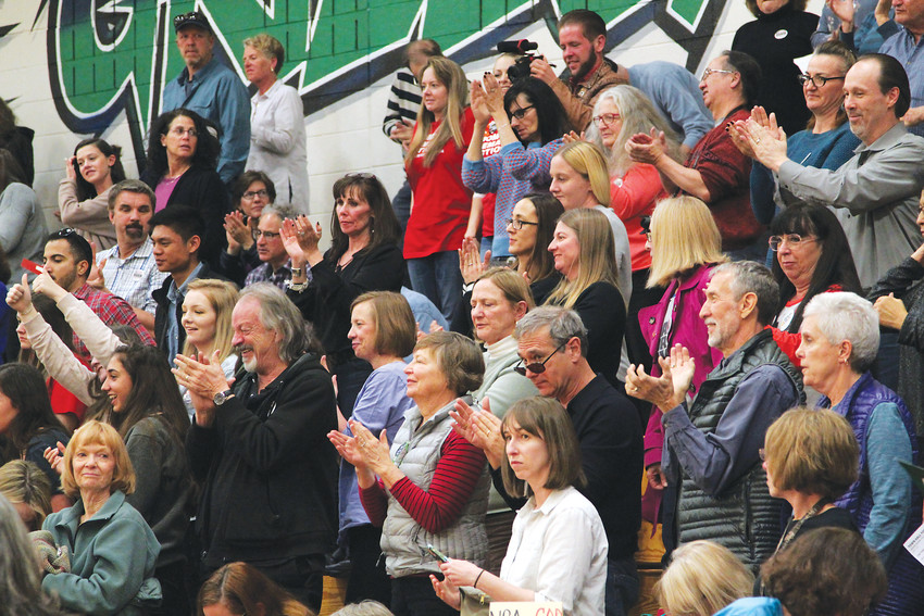 Crowds cheer at the Town Hall for Our Lives event in Highlands Ranch on April 7.