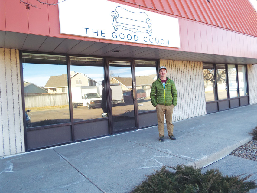 Nick Riechert stands in front of the new location for his refurbished furniture business, The Good Couch, in Northglenn. The company takes used couches, repairs and cleans them and makes them available inexpensively — all while helping local homeless efforts.