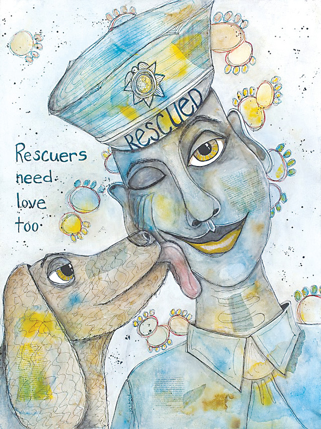 """Rescuers Need Love Too"", a mixed media painting by artist Jennifer Steck, a former police captain, is included in the Parker Artists Guild ""Best of PAG"" exhibit at the Deep Space Gallery in Parker."