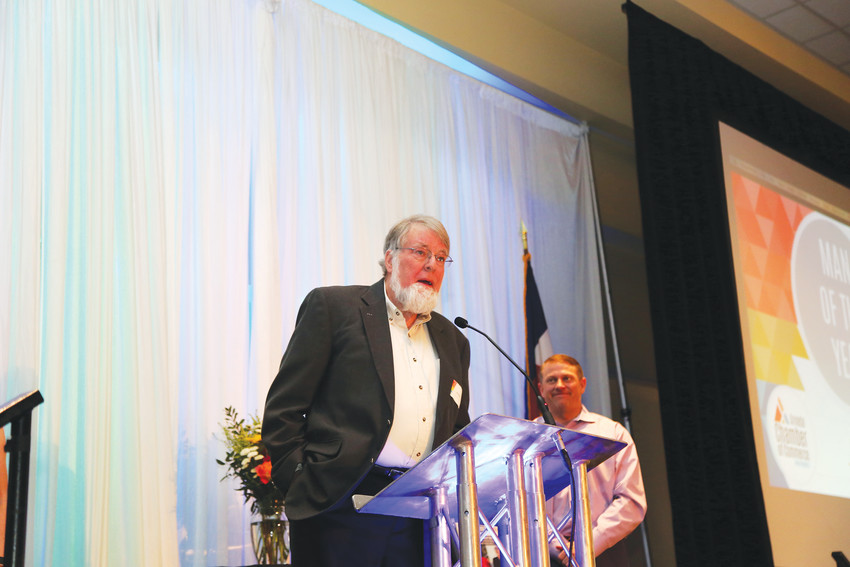 John Beattie gives a short speech after accepting the 2017 Man of the Year award from the Arvada Chamber of Commerce.