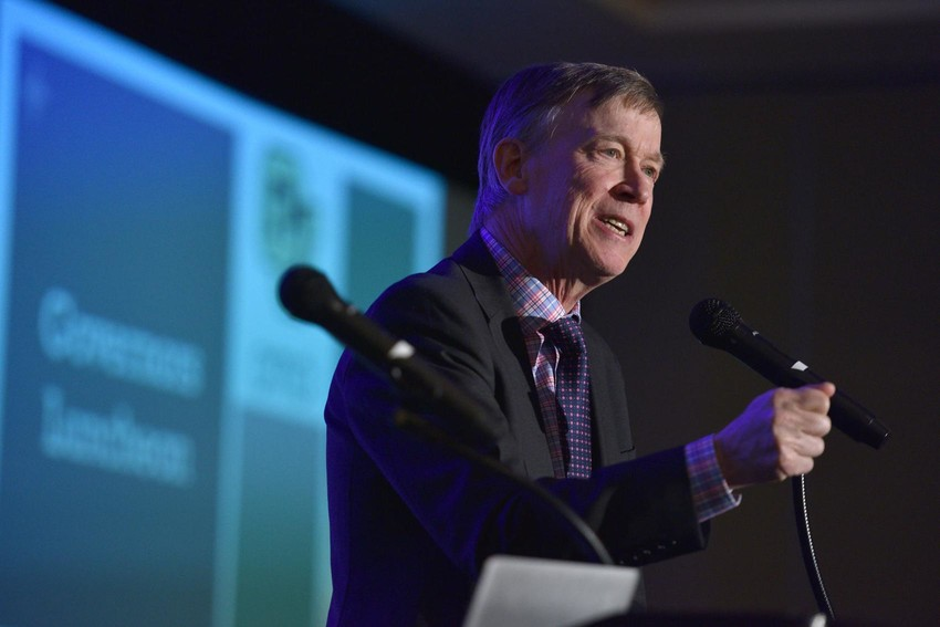 Colorado Gov. John Hickenlooper proclaims that April 16-22 as Colorado Journalism Week, during the 2018 Colorado Press Association Annual Convention on April 13 at the Antlers Hotel in Colorado Springs. Photo by Thomas Cooper/Lightbox images