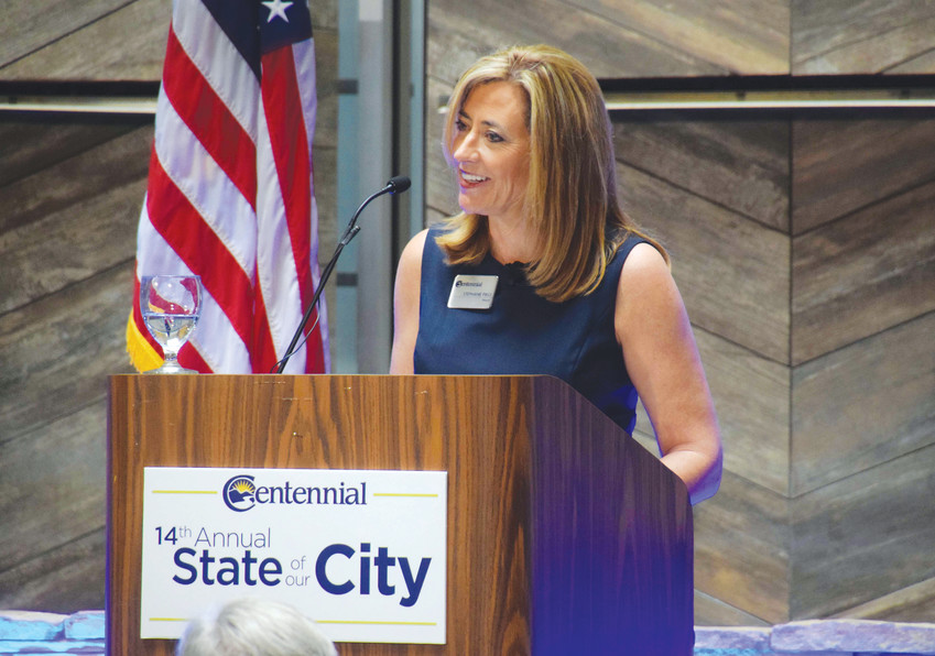 Mayor Stephanie Piko at Centennial's 14th annual State of Our City event April 12 at the Embassy Suites by Hilton Denver Tech Center hotel in Centennial. Piko's address focused on technological innovation both in the private and public sectors in the city.