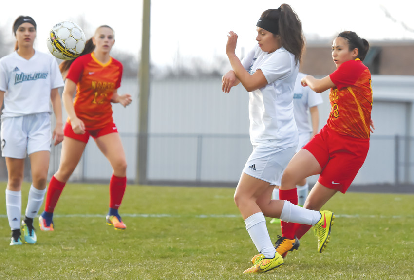 Westminster's Estephany Martinez, center, attempts to avoid a ball kicked by Northglenn's Samantha Dominguez Reyes, right, during the first half of last Tuesday's game at Memorial Stadium in Westminter. The Norse beat the Lady Wolves, 3-1.