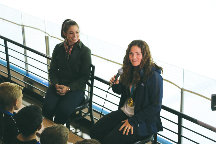 Nicole Hensley, a member of the gold-medal winning women's Olympic hockey team, sat down with 9News sportscaster Cealey Godwin at the Edge Ice Arena on April 15 to talk about her journey to the Olympics.