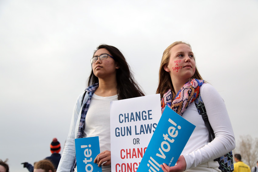 "Emily Straut, 16, and Delaney Peterson, 16, both Dakota Ridge High School students, attended the Vote for Our Lives rally to make a statement. ""I think it's appalling that I have to be here,"" Peterson said. ""We shouldn't have to be scared at school or have events like this."""