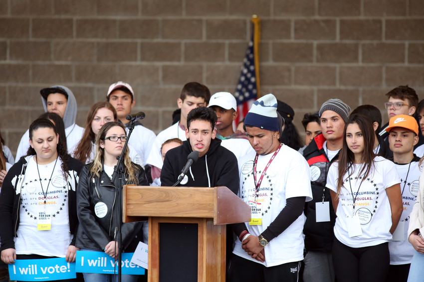 Marjory Stoneman Douglas High School student Carlos Rodriguez stands with classmates from Parkland, Florida that traveled to Colorado to share their story and connect with Columbine survivors.