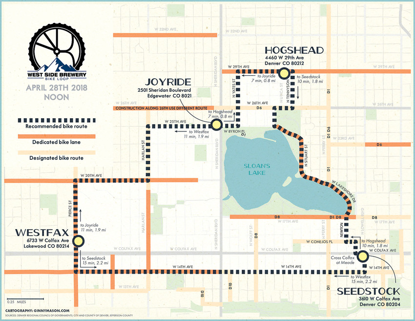 A map of the West Side Brewery Bike Loop, which starts on April 28