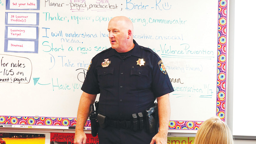 Deputy Jay Martin teaches a Y.E.S.S. class at a Douglas County high school. The program is a partnership between the school district and the Douglas County Sheriff's Office.