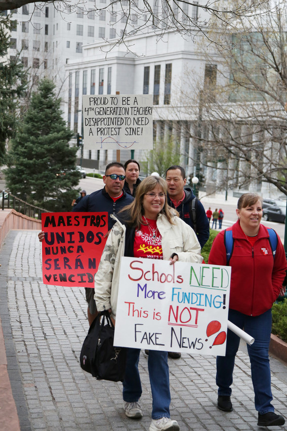 The Jeffco teacher protest was held on the same day as a protest by Douglas County teachers.