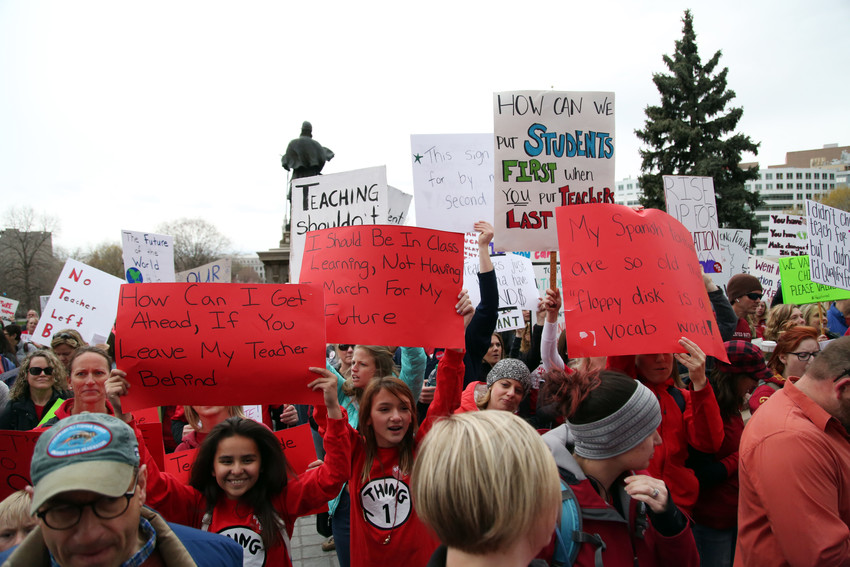 With the day off from school, students also joined alongside teachers at the capitol.