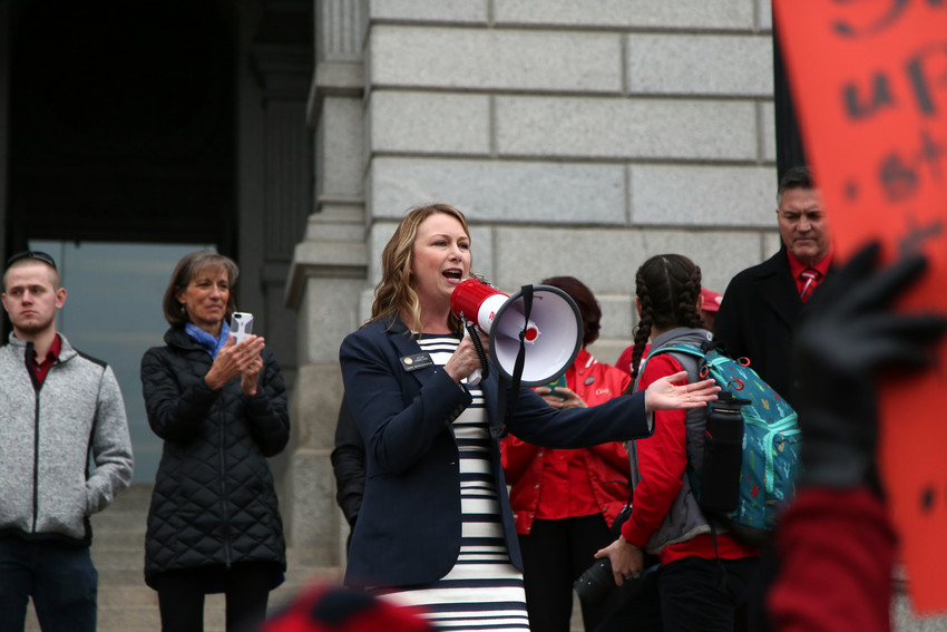 "State Representative Jessie Danielson told educators protesting at the capitol April 26, ""We're inside and we're listening to you. We value what you do for Jefferson County and the whole state."""