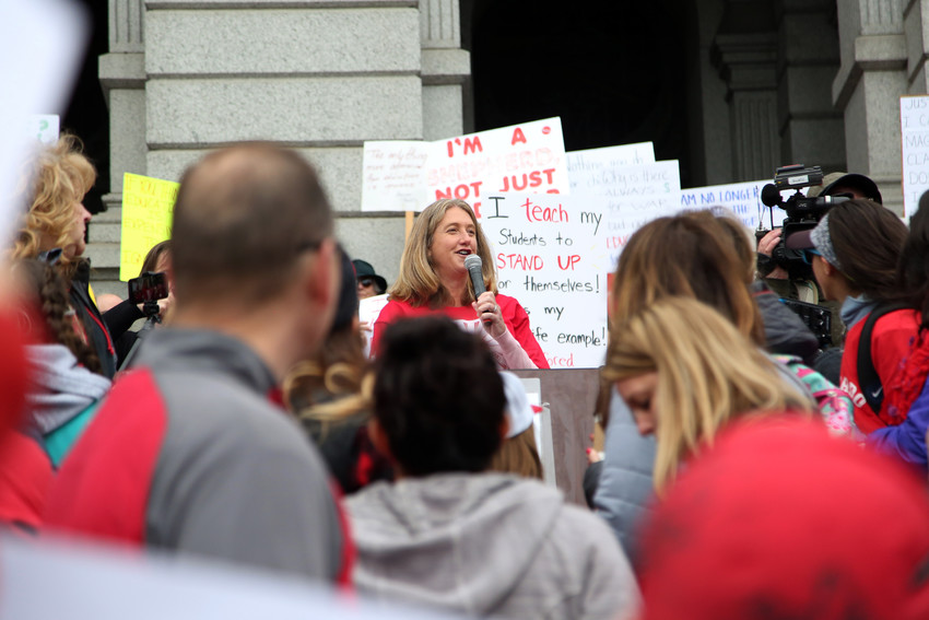"Colorado Governor candidate Cary Kennedy stood on the steps of the state capitol April 26 and told educators, ""Your voice matters. Your union matters ... We need to give you a raise."""