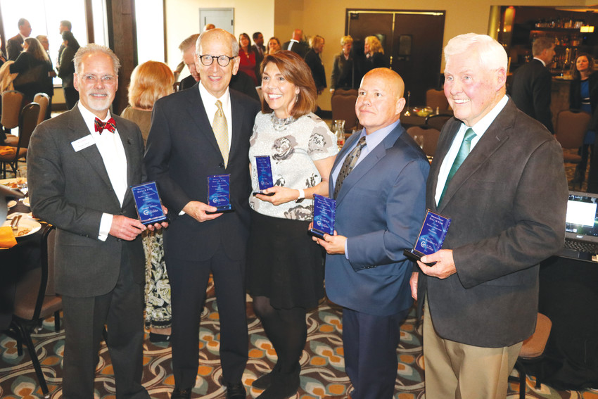 The five inductees into the West Metro Chamber's Hall of Fame — from left, Donald Tallman, Steve Burkholder, Fran Baker, David Goff (standing in for Dr. Harriet Hall), and John Bandimere Jr.