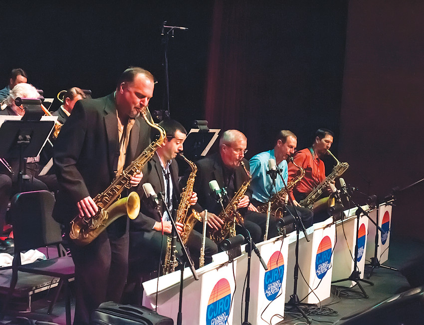 The saxophonists in the front row of the Colorado Jazz Repertory Orchestra. (Center, director Art Bouton.)