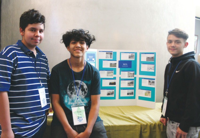 "From left, Alex Trujillo, Andres Ruiz and Phillip Baca, all 10th-graders at Lakewood High School, stand with their poster that demonstrates the reality of drug use among youth. The teens looked at reasons why youth do or don't use drugs and narrowed their research down to two main points — accessibility, meaning where to get drugs and where to do them, and peer pressure. Their findings surprised them, they said at the Communities That Care recognition and discoveries reception on April 27, noting that it's easy for youth to access drugs, thus, do drugs. ""We don't really talk about this stuff as a community,"" Baca said, ""so getting it out there is a way for us to be able to help the community."""