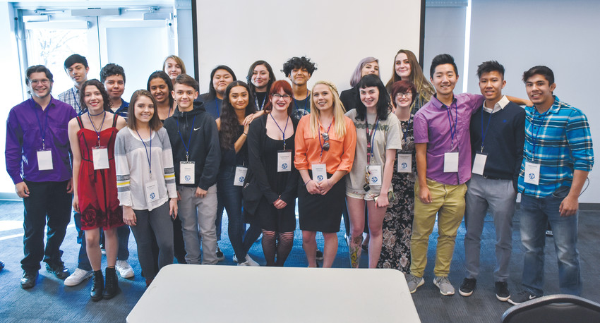 The 21 youth researchers who gathered data on what they are experiencing in the Jeffco community have a group photo taken on April 27 at the Communities That Care recognition and discoveries reception, which was the final event that concluded their internship.