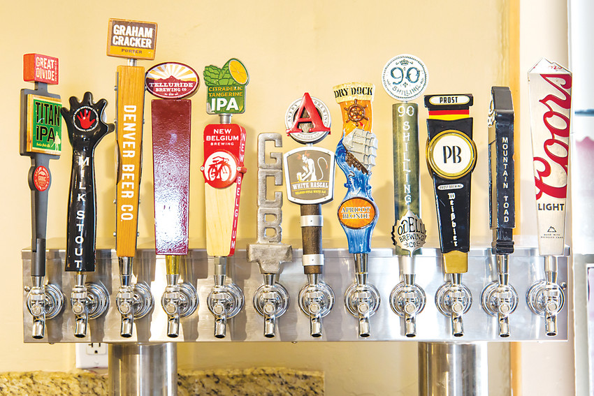 A few of the breweries that are served at Morrison's new Red Rocks Beer Garden.