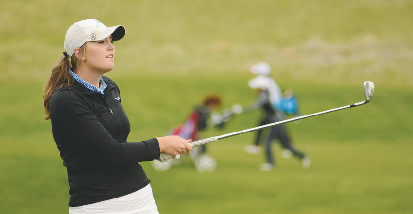 Ralston Valley junior Sydney Eye watches her drive on her second hole Monday, May 7, at Fox Hollow Golf Course in Lakewood. Eye placed tied for 5th in the individual standings at the Class 5A Western Regional. The Mustangs took second in the team standing behind Cherry Creek.