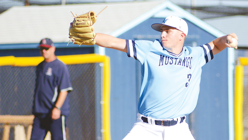 Ralston Valley sophomore Billy Wall picked up the victory on the mound retiring all four Dakota Ridge batters he faced in the final two innings May 4 at Nate Jurney Field. The Mustangs will begin their postseason with a regional tournament Saturday, May 12.