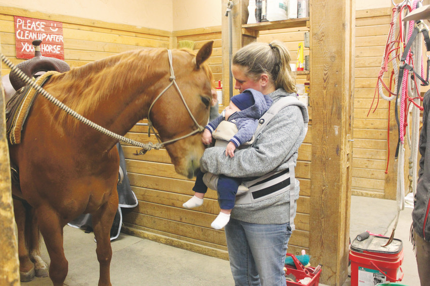 Enchantress, a gentle horse rescued from the kill pen, nuzzles four-month-old Tanner Grogan, and his mother Kate at Enchantress' new home at Drifter's Hearts of Hope.