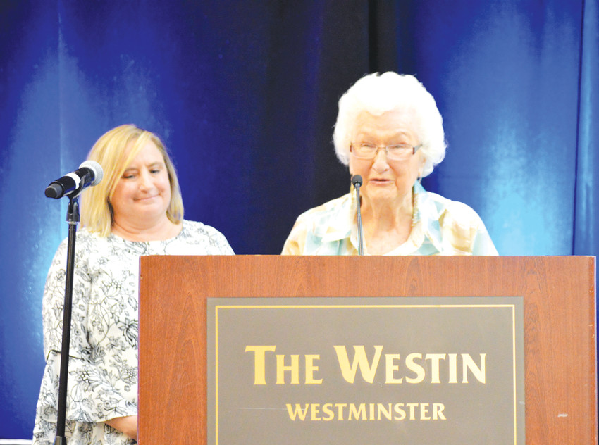 Former Mayor, City Councilor and newspaper columnist Vi June accepts the Lifetime Achievement award at the Westminster Legacy Foundation's Community Award breakfast May 11.